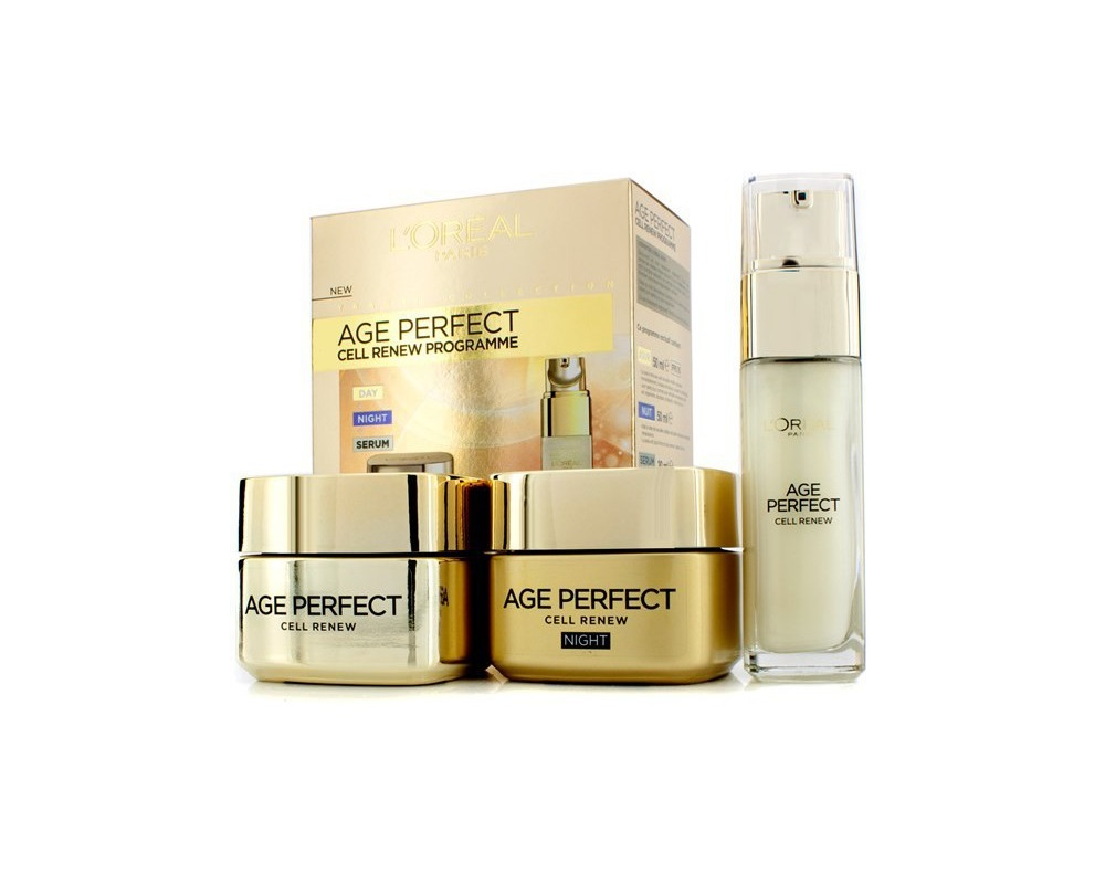 ست کرم شب و روز  و سرم لورآل L'oreal paris age perfect cell renew programme set day, night & serum